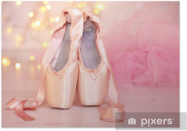 Ballet pointe shoes on floor on bokeh background Poster - Other objects