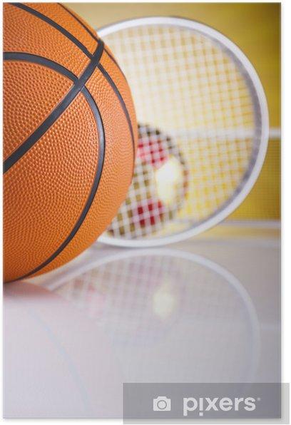 Poster Ballon de basket sur le soleil - Sports d'extérieur
