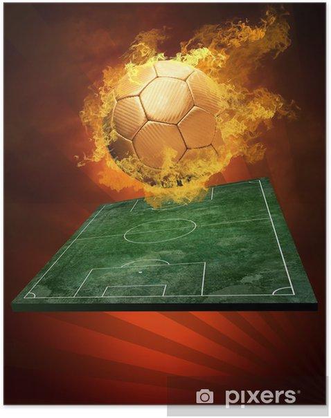 Poster Ballon de football chaud sur la vitesse de la flamme des incendies - Matchs et compétition