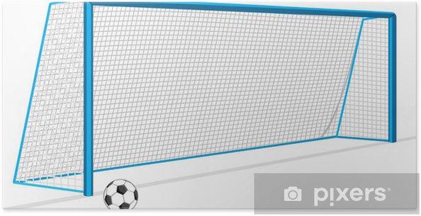 Poster Ballon de football et porte et isolé sur le blanc - Matchs et compétition