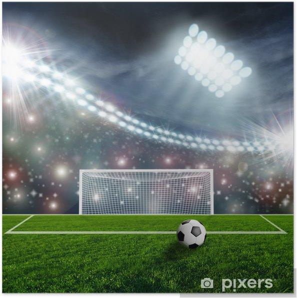 Poster Ballon de soccer sur scène du stade vert - Réussite