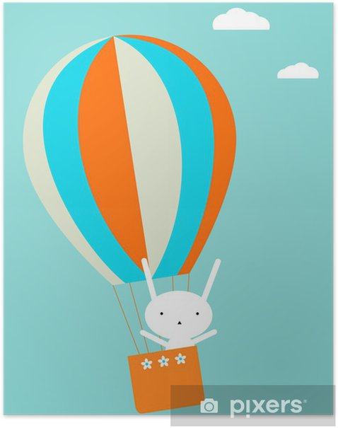Balloon flying Poster - Rabbits