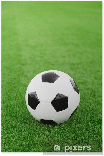 Póster Balón de fútbol tradicional en el campo de fútbol - Temas