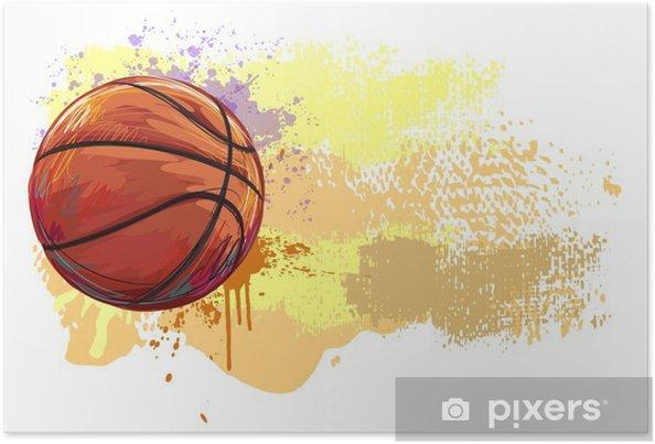 Póster Baloncesto Banner .__ Todos los elementos están en capas separadas y agrupados. __ - Deportes