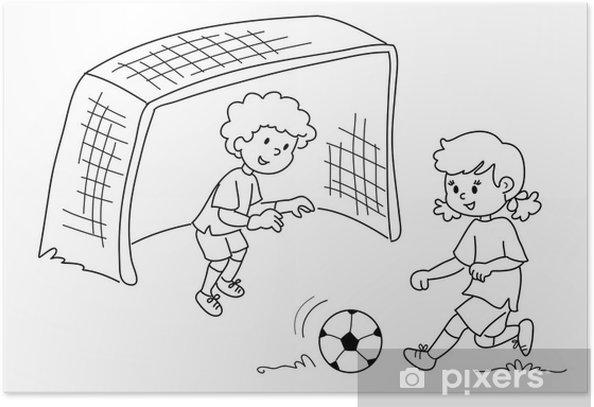 Bambini Che Giocano A Calcio Bianco E Nero Poster Pixers We