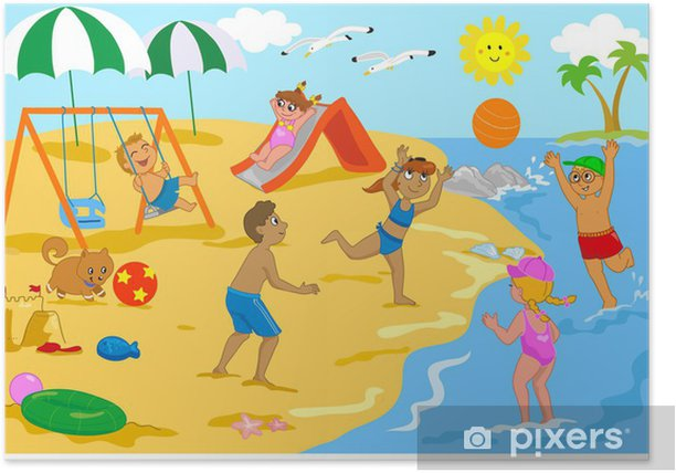 Bambini Che Giocano In Spiaggia Con Palla Scivolo E Altalena Poster