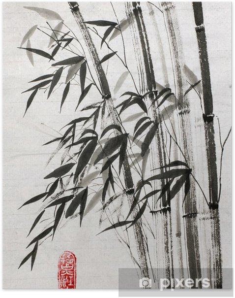 Poster Bamboe is een symbool van een lang leven en welvaart - Bloemen en Planten