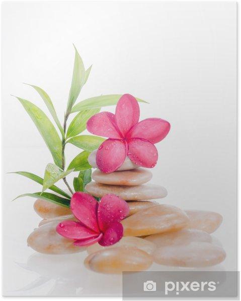 Poster Bambou vert avec des fleurs rouges et pierres de rivière jaune - Beauté et soins du corps