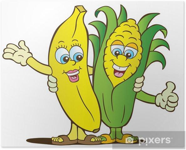 poster banaan en maïs gezond eten tekens • pixers® - we leven om te