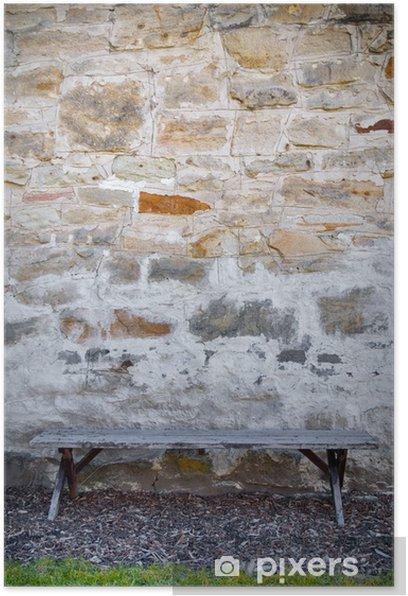 Poster Banc et mur de pierre - Justice