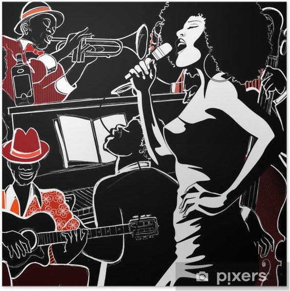 Póster Banda de jazz con contrabajo piano trompeta - Jazz