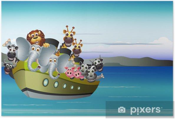 Poster Bande dessinée animale sur le bateau - Animaux imaginaires
