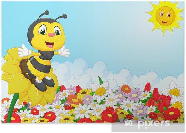 Poster Bande dessinée d'abeille assis sur la fleur - Autres Autres