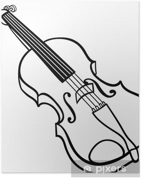 Poster Bande dessinée de violon Coloriage illustration - Musique