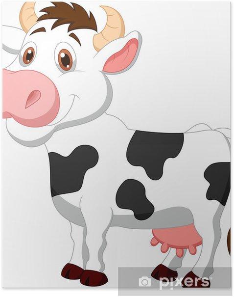 Poster Bande dessinée mignonne de vache - Mammifères