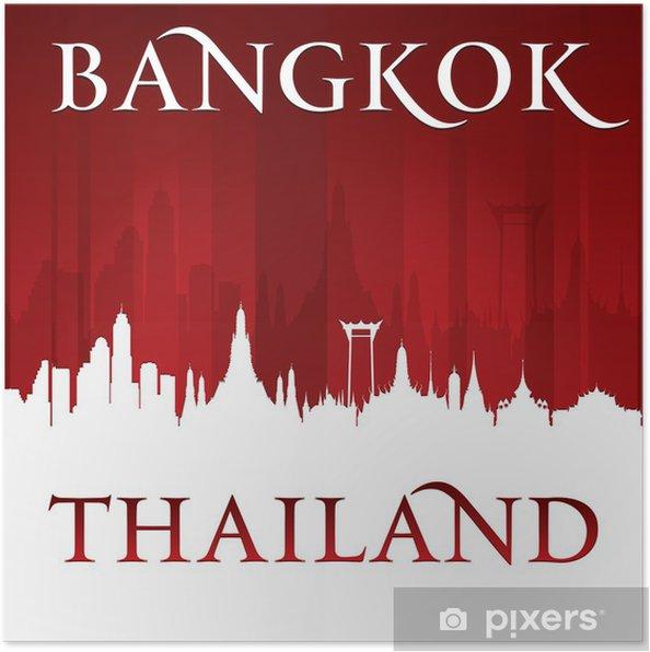 Poster Bangkok Thaïlande toits de la ville silhouette sur fond rouge - Asie