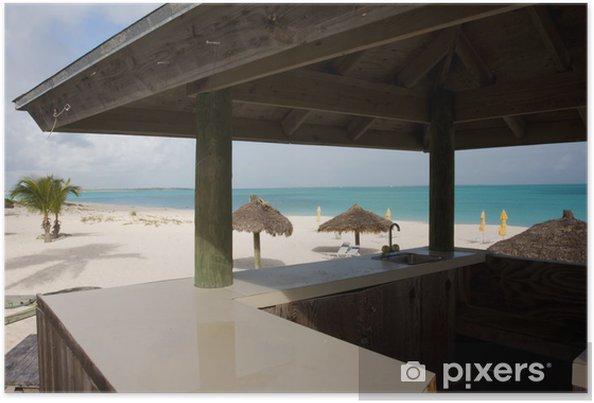 Póster Bar De La Playa Zona De Terraza Con Vistas A La Arena Y El Mar