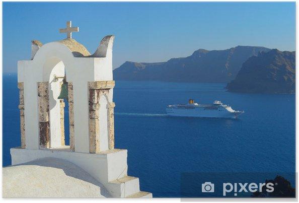Póster Barco de cruceros en la caldera en Oia, Santorini, Grecia - Europa