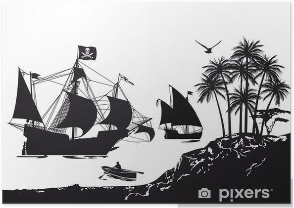 Póster Barco pirata con la isla tropical - Barcos