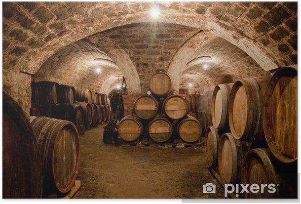 Poster Barils dans une cave à vin hongrois - Alcool