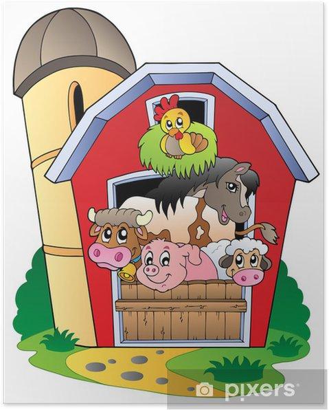 Poster Barn Med Olika Husdjur