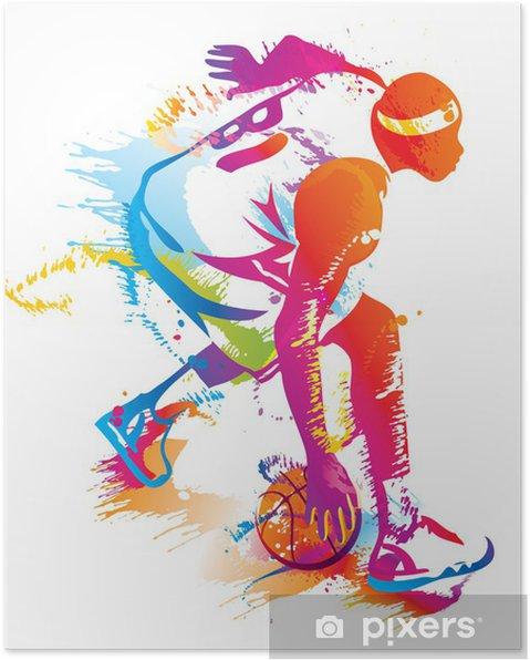Basketball player. Vector illustration. Poster - Basketball