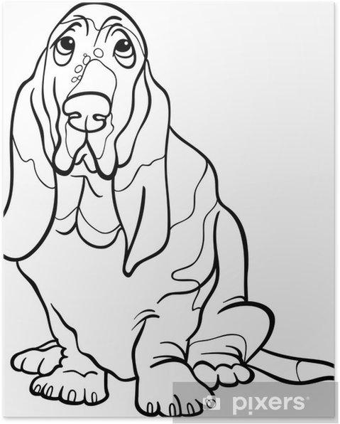 Póster Basset Hound Perro De Dibujos Animados De Libro Para Colorear