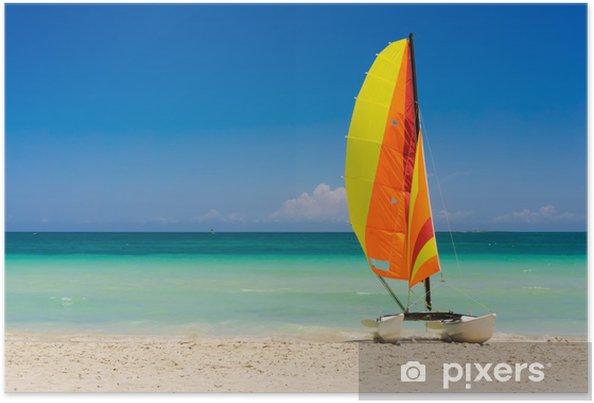 Poster Bateau à voile sur la plage de Varadero à Cuba - Thèmes