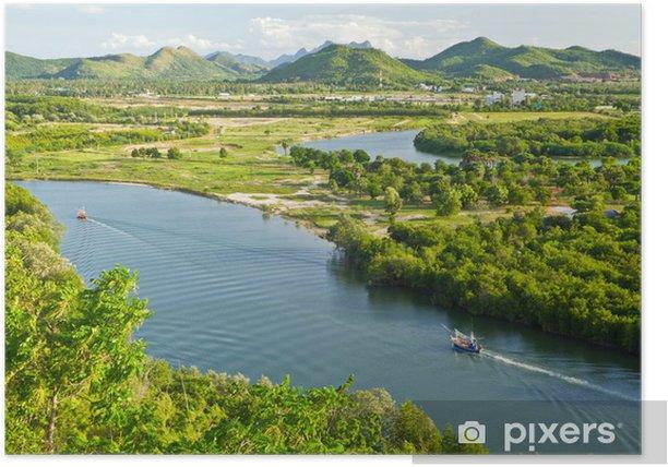 Poster Bateau de pêche sur la rivière pranburi - Merveilles naturelles