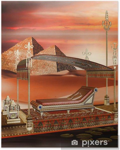 Poster Bateau égyptien et les pyramides - Afrique