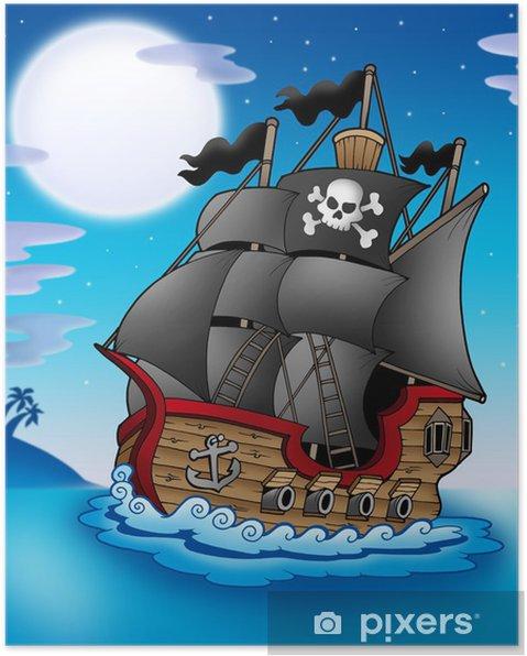 Poster Bateau pirate nuit -