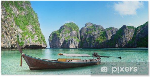 Poster Bateau sur le sable de la baie de Maya Phi Phi Island - Eau