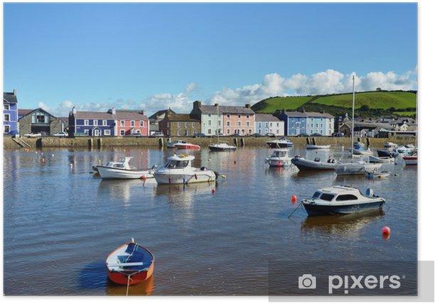 Poster Bateaux amarrés dans le port de Aberaeron, Pays de Galles. - Europe