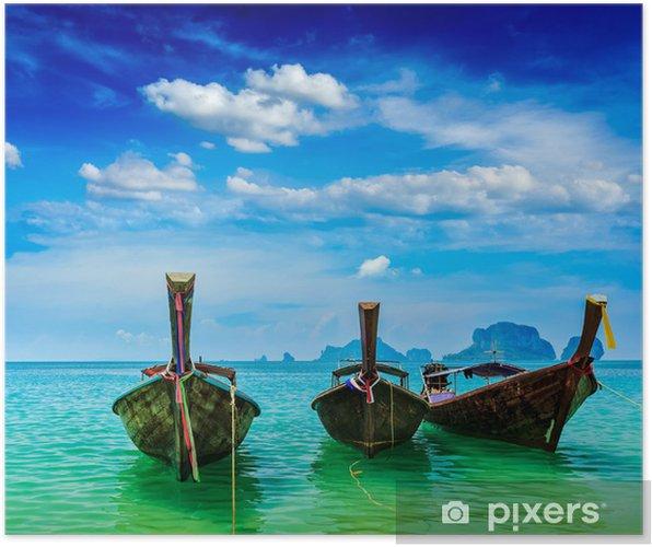 Poster Bateaux de long arrière sur la plage, Thaïlande - Asie