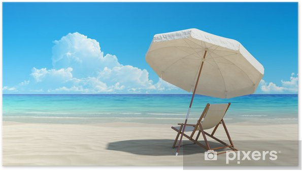 Beach Chair And Umbrella On Idyllic Tropical Sand Poster
