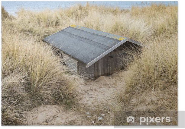 Beach Hut Buried in Sand at Brancaster, Norfolk, UK Poster - Holidays