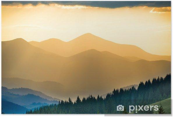 Poster Beau coucher de soleil dans les montagnes - Détente