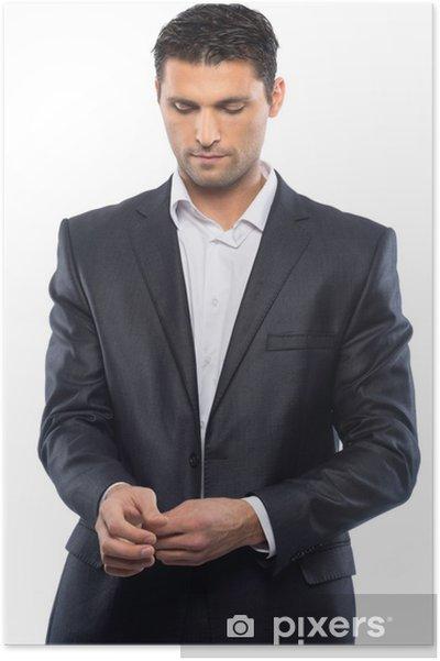 Royaume-Uni disponibilité eb22f 36396 Poster Beau jeune homme en costume noir et chemise blanche