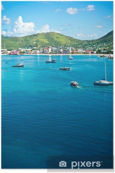Poster Beau panorama de Philipsburg, Saint-Martin, Caraïbes Islan - Amérique