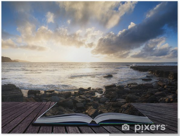Poster Beau paysage au coucher du soleil avec des conséquences dramatiques nuages paysage imag - Eau
