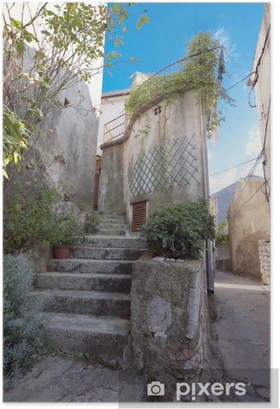 Poster Beau vieux escaliers méditerranéens dans Vrbnik Ville Croatie - Europe