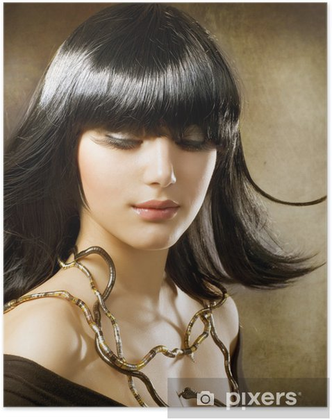 Beautiful Brunette. Egyptian Style. Hairstyle Poster - Lifestyle>Body Care and Beauty