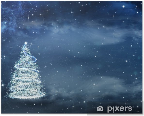 Beautiful Christmas.Beautiful Christmas Background With Christmas Tree And Stars Poster