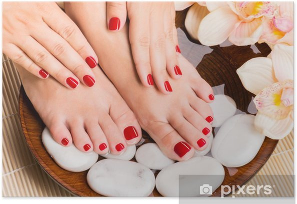 Beautiful female feet at spa salon on pedicure procedure Poster - Lifestyle>Body Care and Beauty