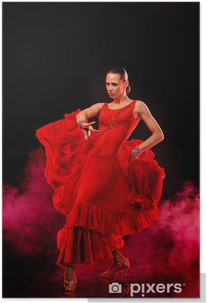 Beautiful Latino Dancer In Action Dark Smoky Background Poster Pixers We Live To Change