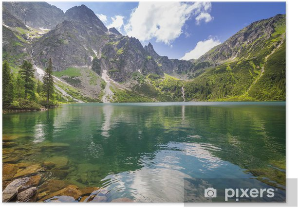 Beautiful scenery of Tatra mountains and lake in Poland Poster - Themes