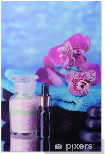 Beautiful spa setting with orchid on blue background Poster - Flowers
