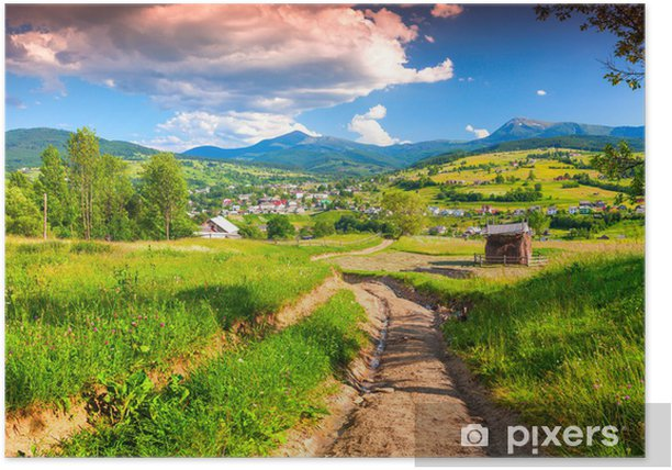 Beautiful summer landscape in the mountains village Poster - Themes