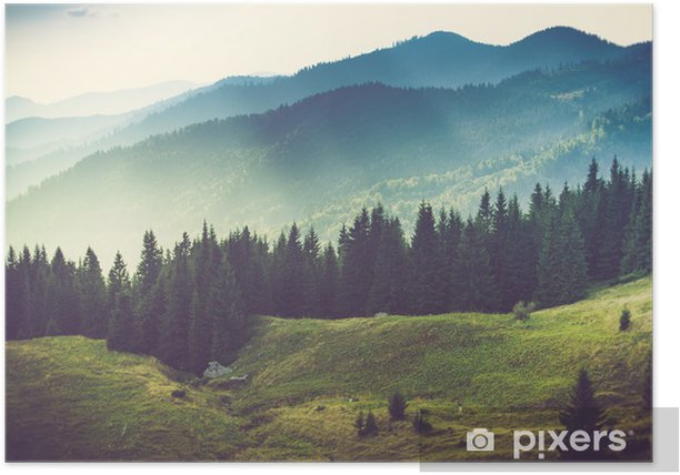 Beautiful summer mountain landscape. Poster - Mountains