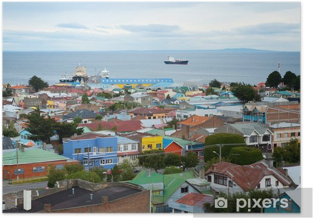 Beautiful view of Punta Arenas with the Strait of Magellan Poster - America